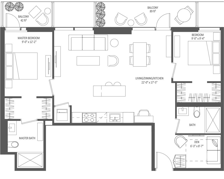 942 SQ FT - 2 Bedroom + Den